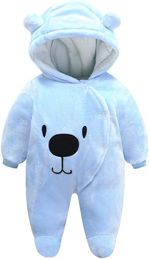 Agujat Newborn Baby Jumpsuit Outfit Hoody Coat Winter Infant Rompers Toddler Clothing Bodysuit Cartoon