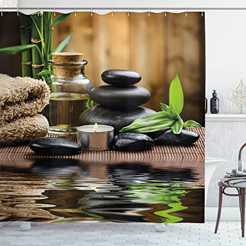 """Ambesonne Spa Shower Curtain, Massage Stone Triplets Herbal Oil and Scent Candles Print, Cloth Fabric Bathroom Decor Set with Hooks, 70"""" Long, Sand Brown"""