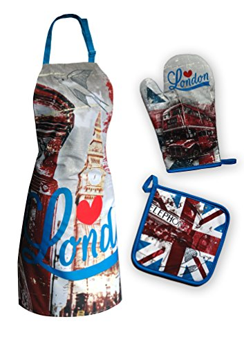 Maxi&Mini - SET DE CUISINE TABLIER + MANIQUE + GANT DE CUISINE MOTIF LONDRES, LONDON, BIG BEN