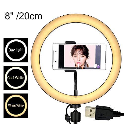 WYZQ Luz de Anillo 12/10/8 Pulgadas fotografía LED Selfie Ring Light, con Soporte para teléfono móvil Photo Studio Ring Light, Utilizado para teléfono Inteligente transmisión en Vivo 8 Pulgadas