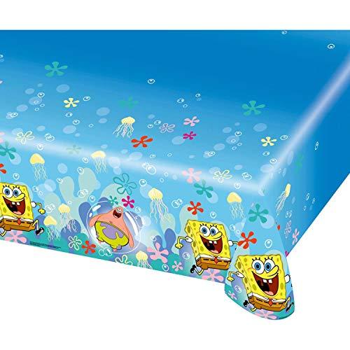 Kunststof tafelkleed van Amscan International, Sponge Bob sponskop motief, 1,2 x 1,8 m.