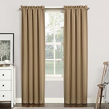 Sun Zero 51749 Easton Blackout Energy Efficient Rod Pocket Curtain Panel 40  x 84  Taupe