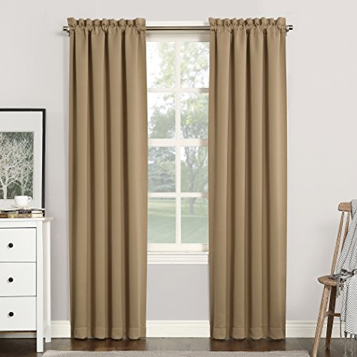 "Sun Zero 51749 Easton Blackout Energy Efficient Rod Pocket Curtain Panel, 40"" x 84"", Taupe"