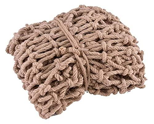 QI-CHE-YI Cuerda de cáñamo Diámetro de la Cuerda de la Cuerda 8 mm, Rejilla 10 cm de Seguridad de la Escalera, la Cerca de la Red Decorativa, la Cuerda de cáñamo Tejido de Escalada,1x1m