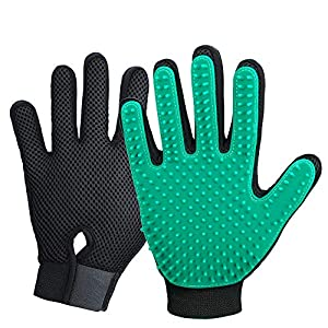 2020 New Version Pet Grooming Brush, Enhance Pet Grooming Glove with 255 Tips, Deshedding Glove for Dog and Cat, 1 Pair Left & Right Gentle De-Shedding Glove Brush