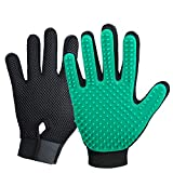 New Version Pet Hair Remover Gloves, Enhance Pet Grooming Glove with 255 Tips, Deshedding Glove for Dog and Cat, 1 Pair Left & Right Gentle De-Shedding Glove Brush, Green