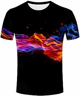 Men 3D T Shirt Burning Flame Print Unisex Summer Polyester Tops Print