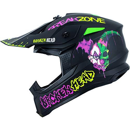 Broken Head FreakZone Cross-Helm Schwarz-Grün-Pink matt – Motocross – MX – Quad – Supermoto (L 59-60 cm)