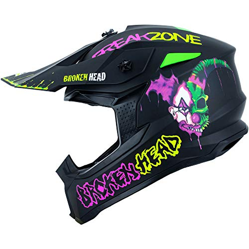 Broken Head FreakZone Cross-Helm Schwarz-Grün-Pink matt – Motocross – MX – Quad – Supermoto (XS 53-54 cm)