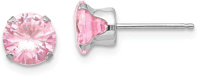 Beautiful White gold 14K 14k White gold Madi K 6.5mm Pink CZ Post Earrings