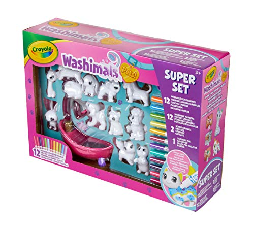 Crayola 74-7321-E-000 Washimals Pets Super, Creative Colouring Crafts Kit, Gift Set with Washable Marker Pens, Multi