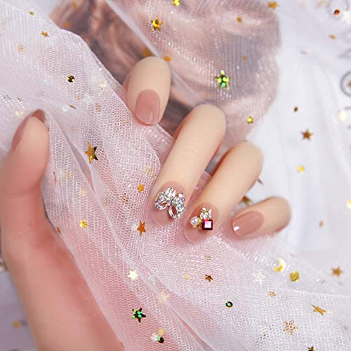 部門雨の外出ピンク 3D ネイルチップ 人造ダイヤモンド 24枚入 原宿 和風 夢幻 和装 手作りネイルチップ 結婚式ネイルチップ