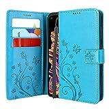 CMID Galaxy Xcover Pro Hülle, PU Leder Brieftasche Handytasche Flip Bookcase Schutzhülle Cover [Kartensteckplatz][Ständer][Handschlaufe] für Samsung Galaxy X Cover Pro (Blau)