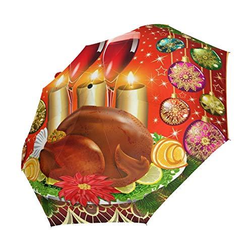 Ahomy Art Ombrello a 3 pieghe di Natale palle di tacchino candele di vino ombrello da viaggio robusto antivento anti-UV sole pioggia ombrelli, apertura automatica