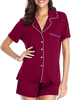 FerDIM Womens Short Sleeve Classic Pajamas Sets with Pocket Button-up Sleepwear 2 Piece