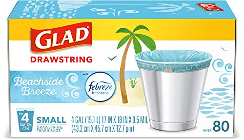 Glad OdorShield Small Drawstring Trash Bags Febreze Beachside Breeze4 Gal80 Ct Package May Vary