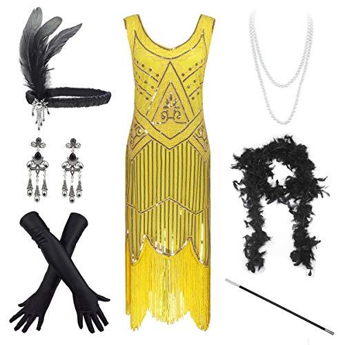 Vestido vintage de los años 20 con lentejuelas y borlas con dobladillo y accesorios para mujer - Amarillo - XXXL