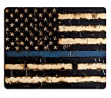 Wknoon Gaming Mouse Pad Custom Design,Wood Thin Blue Line Flag American Police Flag,Non-Slip Thick Rubber Large Mousepad Mat