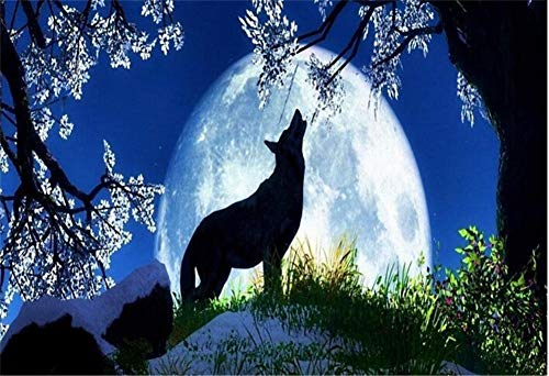 5D DIY Diamond Painting by Number Kit Lunar Wolves Round Drill,70x50cm Adults and Kids Full Drill Beads Crystal Rhinestone Embroidery Cross Stitch Picture Supplies Arts Craft for Home Wall Decor U2699