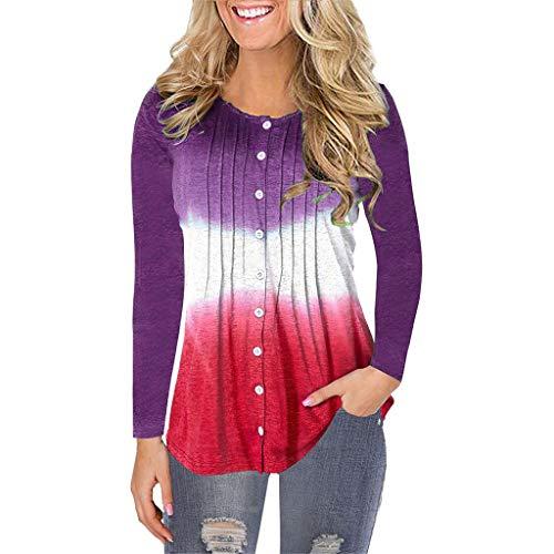 Auifor Mosaico de Manga Larga del O-Cuello del Color sólido Plisado botón Redondo Jersey de Cuello Camisa de la Camiseta de la Camisa de Las Mujeres