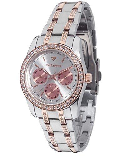 YVES CAMANI MIELLE II Damenuhr 35mm Bicolor Silber Roségold Edelstahl Armband