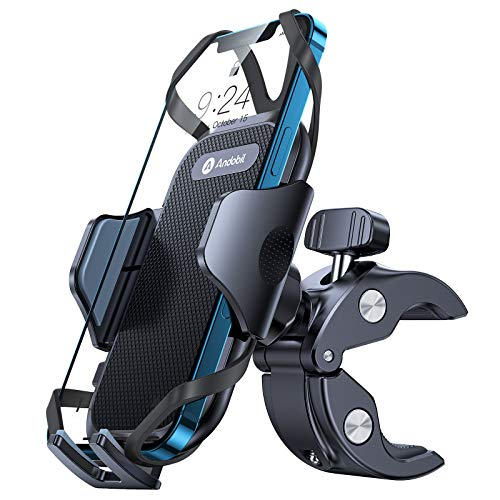 Andobil Bike Phone Mount,【Anti Shake & Super Stable】 Universal Handlebar Cellphone Holder for Bike Motorcycle Compatible with iPhone 12 12 Mini 12 Pro Max 11 SE Xs X 8 7 6 Galaxy S20 Note20 and More