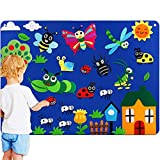 Kids Flannel Felt-Board Stories for Toddlers, with Bugs Caterpillars Felt-Figures Pieces, Large Wall Hang Storyboard Craft Toy Gifts for Kids as Storytelling Interactive Teaching Activity Kits