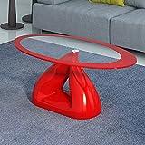 Yulie Table d'appoint en Verre Table Basse Ovale Haute Brillance pour Salon Mobilier canapé en Verre Trempé