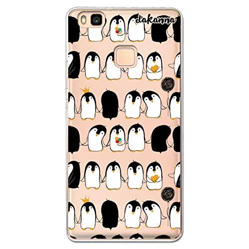 dakanna Funda Compatible con [Huawei P9 Lite] de Silicona Flexible, Dibujo Diseño [Pattern de pingüinos con Helado], Color [Fondo Transparente] Carcasa Case Cover de Gel TPU para Smartphone