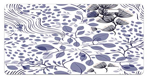 JUUK Botanical Spring Summer Leaves Flowers Flourishing Garden Foliage Seasonal Plants Decorative Car Front License Plate,Vanity Tag,Aluminum Novelty License Plate for Car,6 X 12 Inch