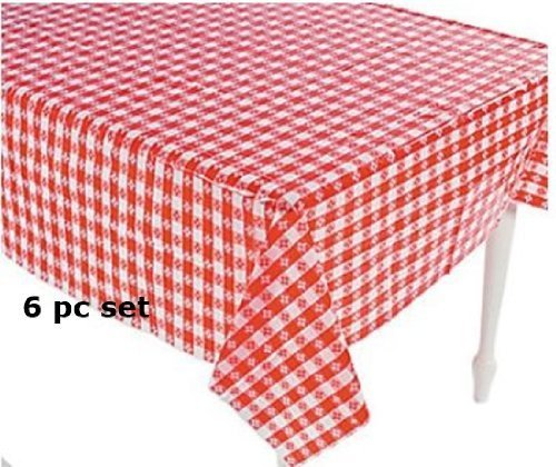 happy deals (6) Plastic Red and White Checkered Tablecloths - 6 Pc - Picnic Table Covers