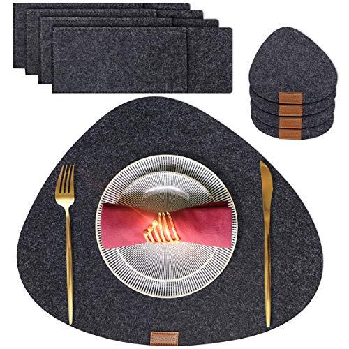 Woollo Verdicken Filz Platzsets(4er Set),Verschleißfest Tischsets,Waschbare Platz-Matten rutschfeste,Hitzebeständige Platzdeckchen mit 4 Untersetzern und 4 Taschen für Messer Gabel,45cmx30cm,Grau