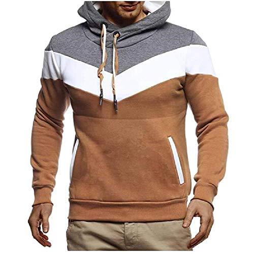 YEE Suéter del suéter de los Hombres Hombres Que Coinciden con el suéter con Capucha de Deportes estirados Casuales,Brown-M