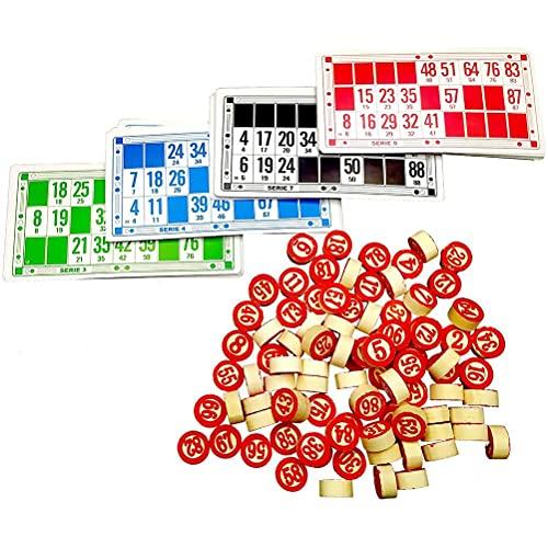 Freshwater Juego de mesa de bingo, juegos de bingo perfectos para la familia, ajedrez de madera digital y juego de mesa de bingo de 48 tarjetas, juego de bingo interactivo perfecto para la familia