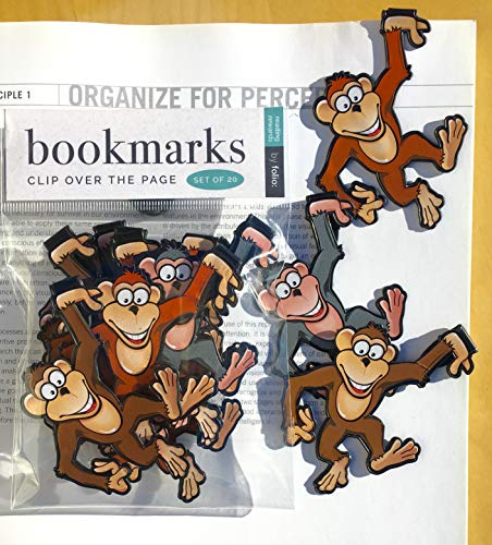 Monkey Bookmarks - (Set of 20 Book Markers) Bulk Animal Bookmarks for Students, Kids, Teens, Girls & Boys. Ideal for Reading incentives, Birthday Favors, Reading Awards and Classroom Prizes!