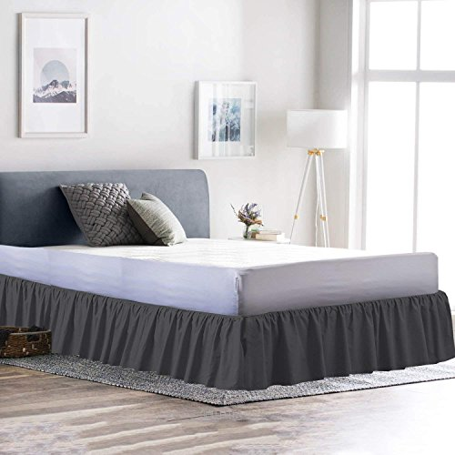 Ruffled Bed Skirt with Split Corners - Calking Size Dust Ruffles Bed Skirts 21 Inch Drop Split Corners - Dove Grey Bedskirt Calking Bed - Dust Ruffle Wrinkle and Fade Resistant Gathered Bed Skirt