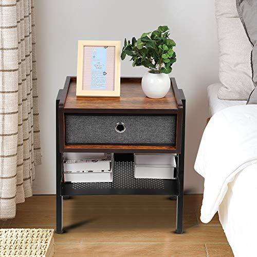 lyrlody- Industriële nachtcommode nachtkastje dressoir met 1 vlieslade, 42 * 35 * 52,5 cm
