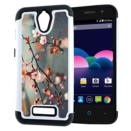 ZTE Obsidian Case, Hybrid Heavy Duty Case, Customerfirst for ZTE Obsidian Z820 (T-Mobile/MetroPCS) 2-Piece Dual Layer Style Hard Cover (Blossom Green)