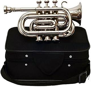 Queen Brass Pocket Trumpet Chrome Finish B-Flat W / Case Mp Silver