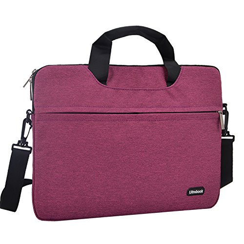 15.6 inch Laptop Shoulder Bag, Laptop Sleeve Messenger Protective Bag for 15 - 15.6 Inch Notebook, HP Acer ASUS Dell Lenovo 19' Chromebook, MacBooks Air Pro Computer Carrying Case Women/ Men, Purple
