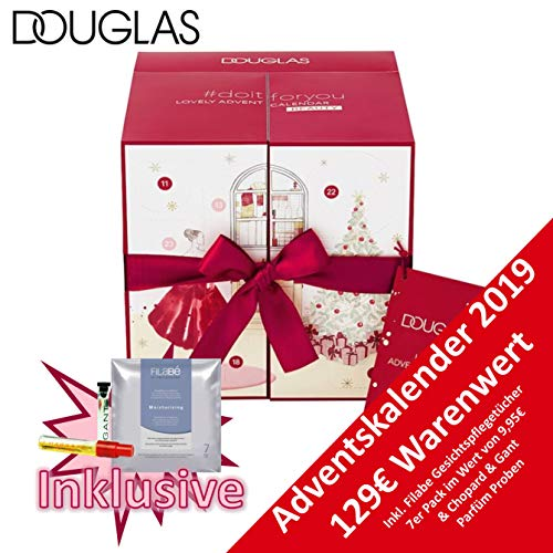 Douglas Adventskalender Beauty 2019 - idealer Advent Kalender für die Frau, Beautykalender im Wert von 129 €, Kosmetikkalender mit 24 Produkten für Damen, Make-Up, Lipliner, Lippenstift