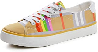 Comfortable Canvas Shoes Fashion Striped Flat Casual Shoes Low Cut Lace Up Sneakers (Color : Multi-Colored, Size : 38)