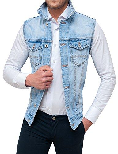 Evoga Smanicato di Jeans Uomo Denim Chiaro Gilet Giubbotto Giacca Casual (XL)