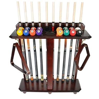 Cue Rack Only - 10 Pool - Billiard Stick & Ball Set Floor - Stand Mahogany Finish (Mahogany)