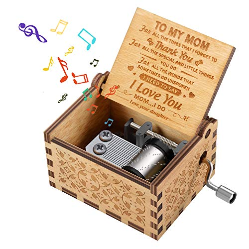 Regalo de Cumpleaños para Mamá, Cosas Exquisitas para la Querida Mamá Cajas de Música Con Manivela de Madera para El Día de la Madre Regalo Especial de Navidad de la Hija a la Mamá