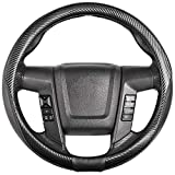 SEG Direct Car Steering Wheel Cover Large-Size for F150 F250 F350 Ram 4Runner Tacoma Tundra Range Rover with 15 1/2'-16' Outer Diameter Leather with Carbon Fiber Pattern Black