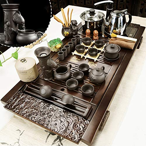Tea Set,Tea Serving Tray Kung Fu Tea Set With Wood Tea Set Set Chinese Ceramic Kung Fu Tea Set With Wooden Tea Tray And Small Tea Tools, Tea Service, Toy Tea Set For Gift, Office Home Use