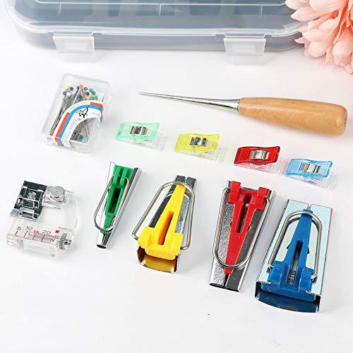 Fabric Bias Tape Makers Kit with Sewing Awl Bead NeedlesAdjustable Binder ClipWooden AwlFoot Press Practical Bias Tape Maker Set