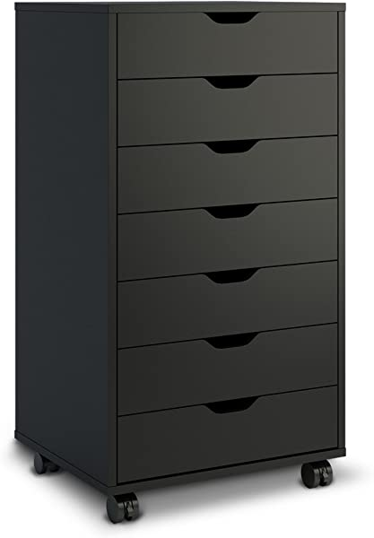 DEVAISE 7 Drawers Chest Storage Dresser Cabinet With Removable Wheels Classic Style Black