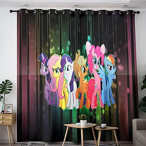 Cortinas modernas para decoración de interiores con diseño de dibujos animados, mi pequeño poni, la amistad es mágica, 1 par de cortinas opacas grandes para mantener el calor de 106 x 114 cm